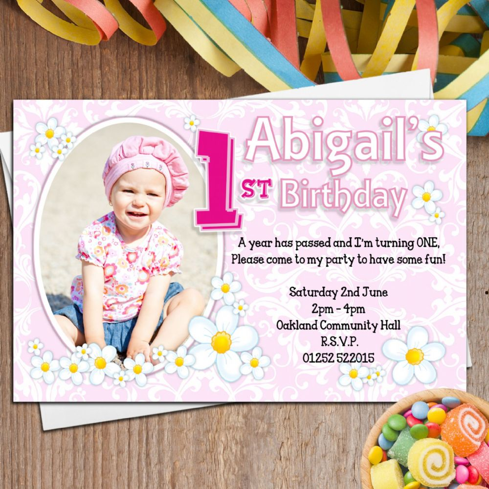 10 Personalised Girls First 1st Birthday Party PHOTO Invitations – Personalised Birthday Invites